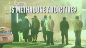 people lined up outside a treatment center from not knowing methadone is addictive